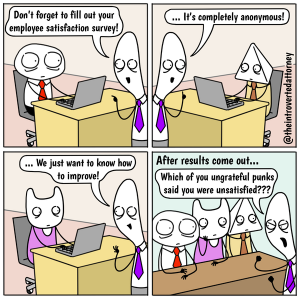Funny and relatable comic for the lawyer who has taken an anonymous employee satisfaction survey. Visit The Introverted Attorney for humorous and sarcastic lawyer comics, content, and gifts.