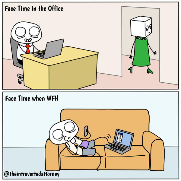 Funny and relatable comic for the lawyer who is familiar with law firm face time requirements. Visit The Introverted Attorney for humorous and sarcastic lawyer comics, content, and gifts.