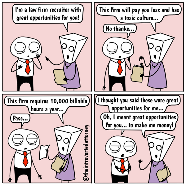Funny and relatable comic for the lawyer who knows what it's like to get his or her hopes up when a law firm recruiter reaches out and is subsequently disappointed. Visit The Introverted Attorney for humorous and sarcastic lawyer comics, content, and gifts.