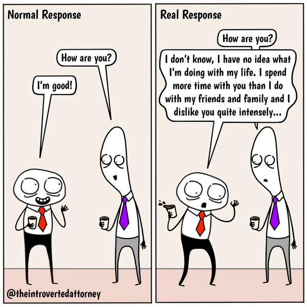 Funny and relatable comic for the lawyer who know what it's like to not reveal their true emotions when they're engaging in small talk. Visit The Introverted Attorney for humorous and sarcastic lawyer comics, content, and gifts.