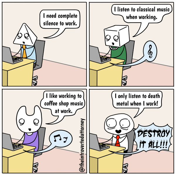 Funny and relatable comic for the lawyer who finds death metal or EMD to be highly motivating productive work music. Visit The Introverted Attorney for humorous and sarcastic lawyer comics, content, and gifts.