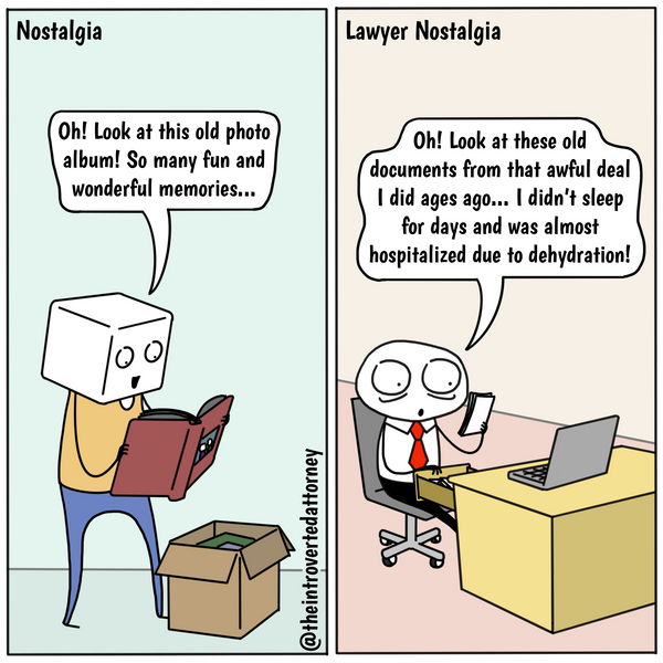 Funny and relatable comic for the lawyer who has traumatic experiences and memories from practicing law. Visit The Introverted Attorney for humorous and sarcastic lawyer comics, content, and gifts.