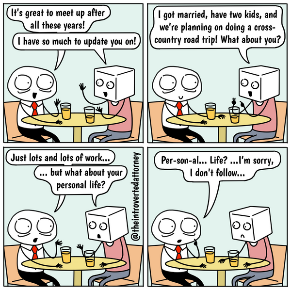 Funny and relatable comic for the lawyer who knows what it's like to rattle off work updates when asked about his or her personal life. Visit The Introverted Attorney for humorous and sarcastic lawyer comics, content, and gifts.