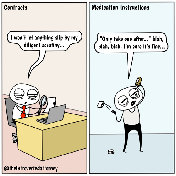 Funny and relatable comic for the lawyer who doesn't let a single detail escape him or her when reviewing contracts for work but then glosses over the fine print outside of the office. Visit The Introverted Attorney for humorous and sarcastic lawyer comics, content, and gifts.