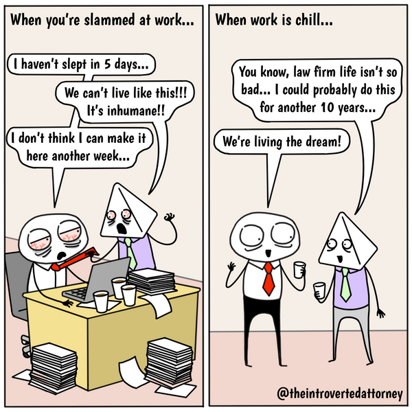 Funny and relatable comic for the lawyer who has the amazing ability to forget the hellish days at work on a slow day. Visit The Introverted Attorney for humorous and sarcastic lawyer comics, content, and gifts.