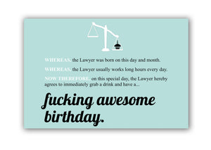 Fucking Awesome Birthday Funny Greeting Card for Lawyers