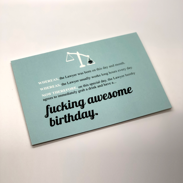 Fucking Awesome Birthday Card for Attorneys