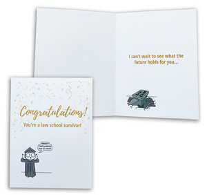 Congrats Law School Survivor | Law School Graduation Card | Future Lawyer | Funny Greeting Card for Law School Graduate