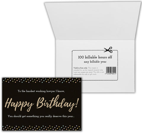 Happy Birthday with Less Billables Coupon Funny Card for Lawyers