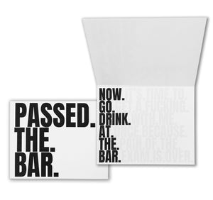 Passed the Bar now drink at the bar congratulations funny card for new lawyers