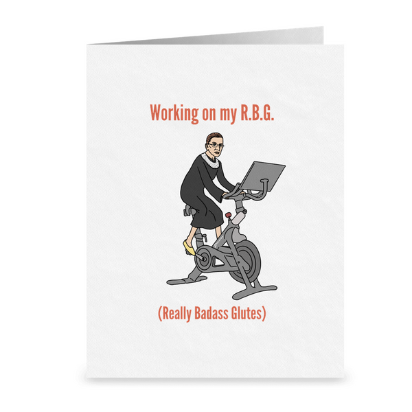 RBG Lawyer Greeting Card | Ruth Bader Ginsburg Attorney Card | Working on My Really Badass Glutes | Funny Lawyer Gifts