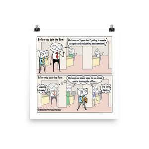 "Open Door Policy | Best Lawyer Law Firm Gifts | Comic Print (10"" x 10"") 
