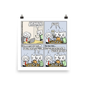 Happy Hour | Best Lawyer Law Firm Gifts | Law Comic Print | Funny Gifts for Attorneys