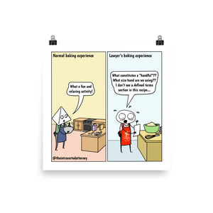 "Lawyer Baking Comic Print (10"" x 10"") 