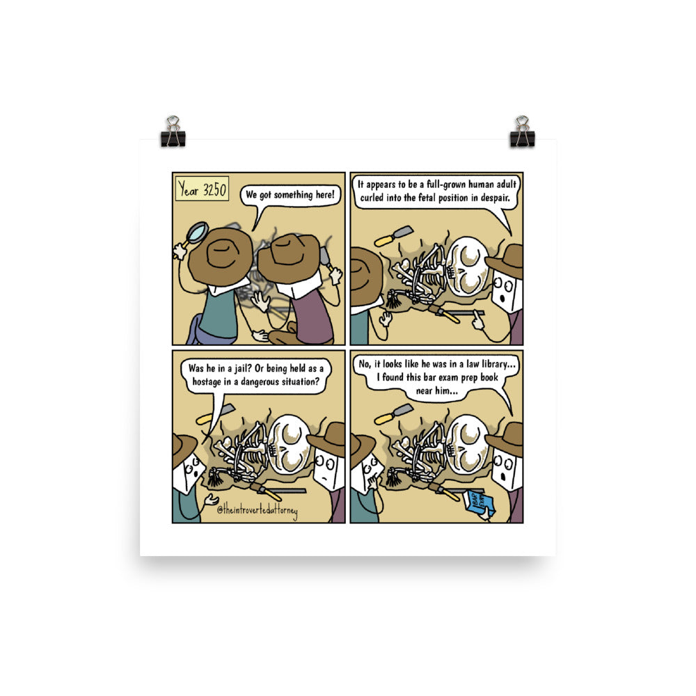 "Bar Exam Fossils | Lawyer Comic Print (10"" x 10"") 