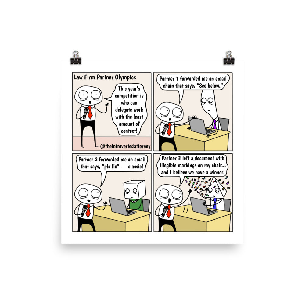Law Firm Partner Olympics | Best Lawyer Law Firm Gifts | Law Comic Print | Funny Gifts for Attorneys
