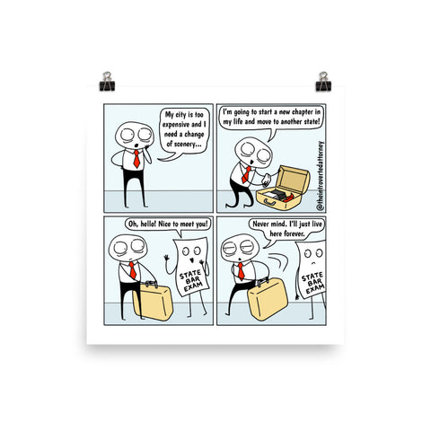 "State Bar Exam | Funny Lawyer Comic Print (10"" x 10"") 
