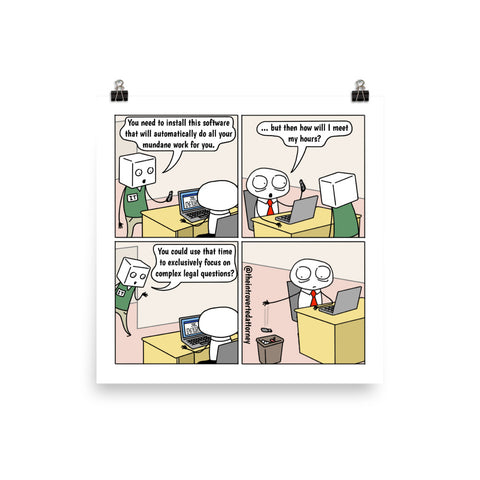 Time-Saving Technology | Best Lawyer Law Firm Gifts | Law Comic Print | Funny Gifts for Attorneys