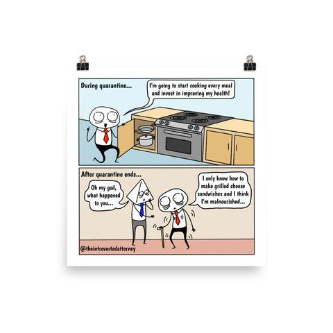 "Quarantine Goals | Lawyer Comic Print (10"" x 10"") 