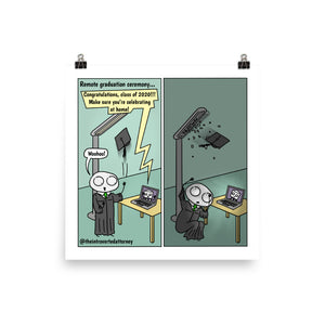 "Remote Law School Graduation | Comic Print (10"" x 10"") 
