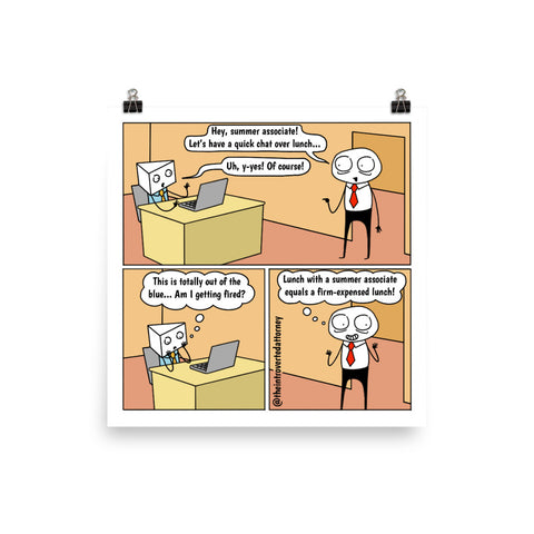 "Free Lunch | Summer Associate Comic Print (10"" x 10"") 