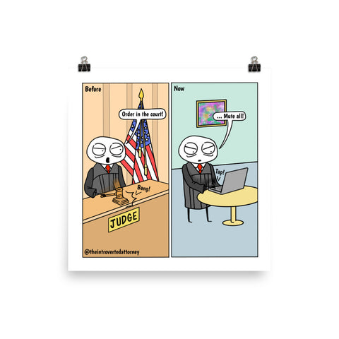 "Order in the Courts | Funny Judge Comic Print (10"" x 10"") 