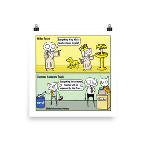"Summer Associate's Magic Touch | Funny Lawyer Comic Print (10"" x 10"") 