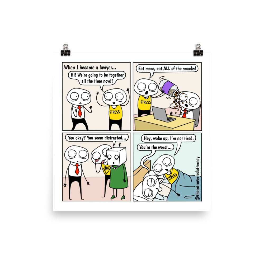 Stress is My BFF | Best Lawyer Law Firm Gifts | Law Comic Print | Funny Gifts for Attorneys