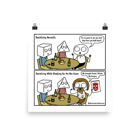 "Studying for the Bar Exam | Comic Print (10"" x 10"") 
