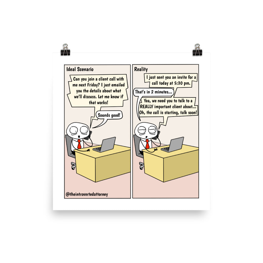 "Short Notice | Best Lawyer Gifts Comic Print (10"" x 10"") 