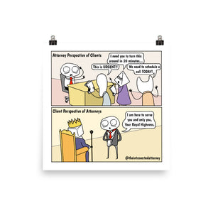 How Attorneys and Clients See Each Other | Best Lawyer Law Firm Gifts | Law Comic Print | Funny Gifts for Attorneys