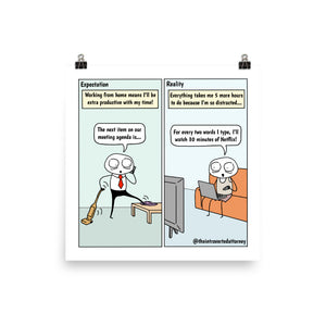 "WFH Expectations vs. Reality | Funny Lawyer Comic Print (10"" x 10"") 