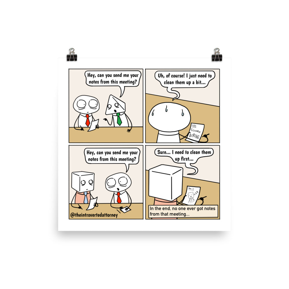 Meeting Notes | Best Lawyer Law Firm Gifts | Law Comic Print | Funny Gifts for Attorneys