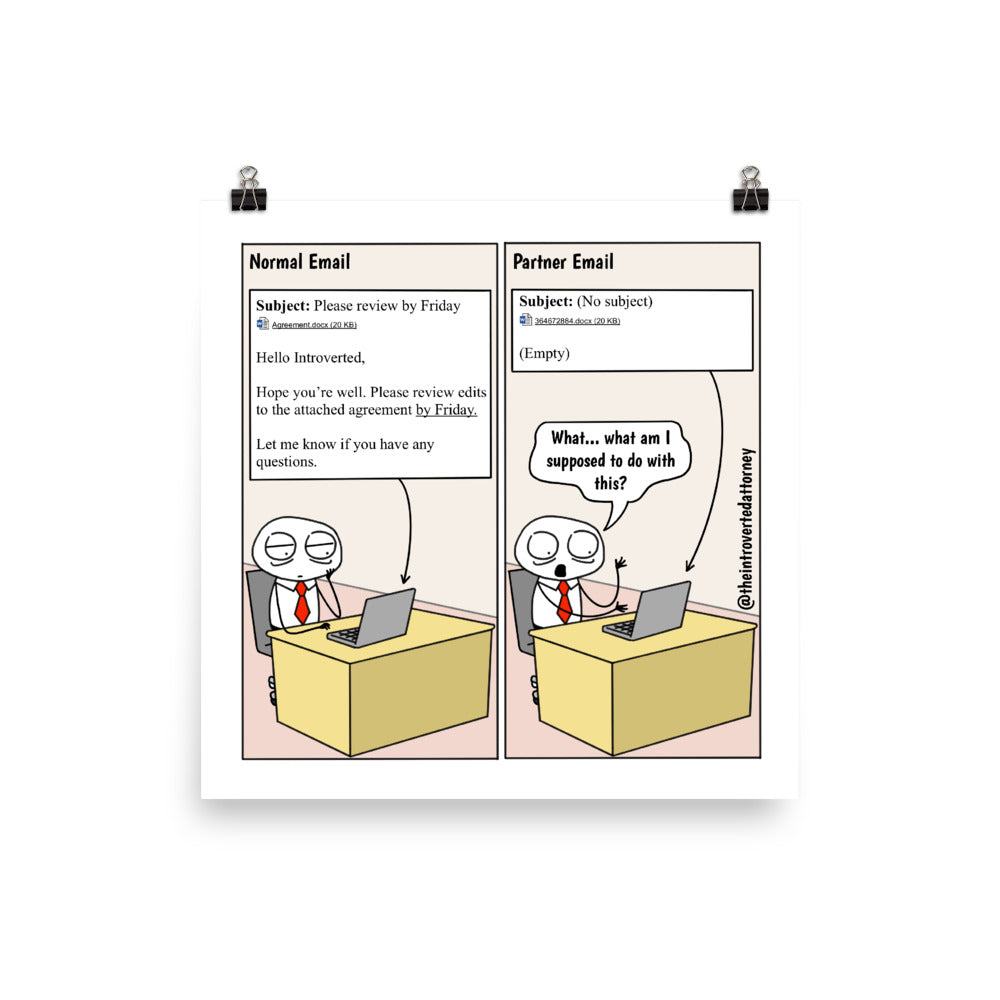 "Law Firm Partner Emails | Funny Lawyer Comic Print (10"" x 10"") 