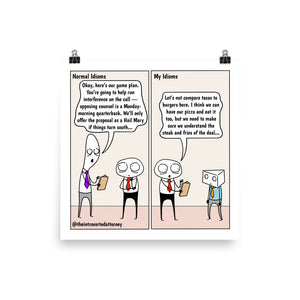 Idioms | Best Lawyer Law Firm Gifts | Law Comic Print | Funny Gifts for Attorneys