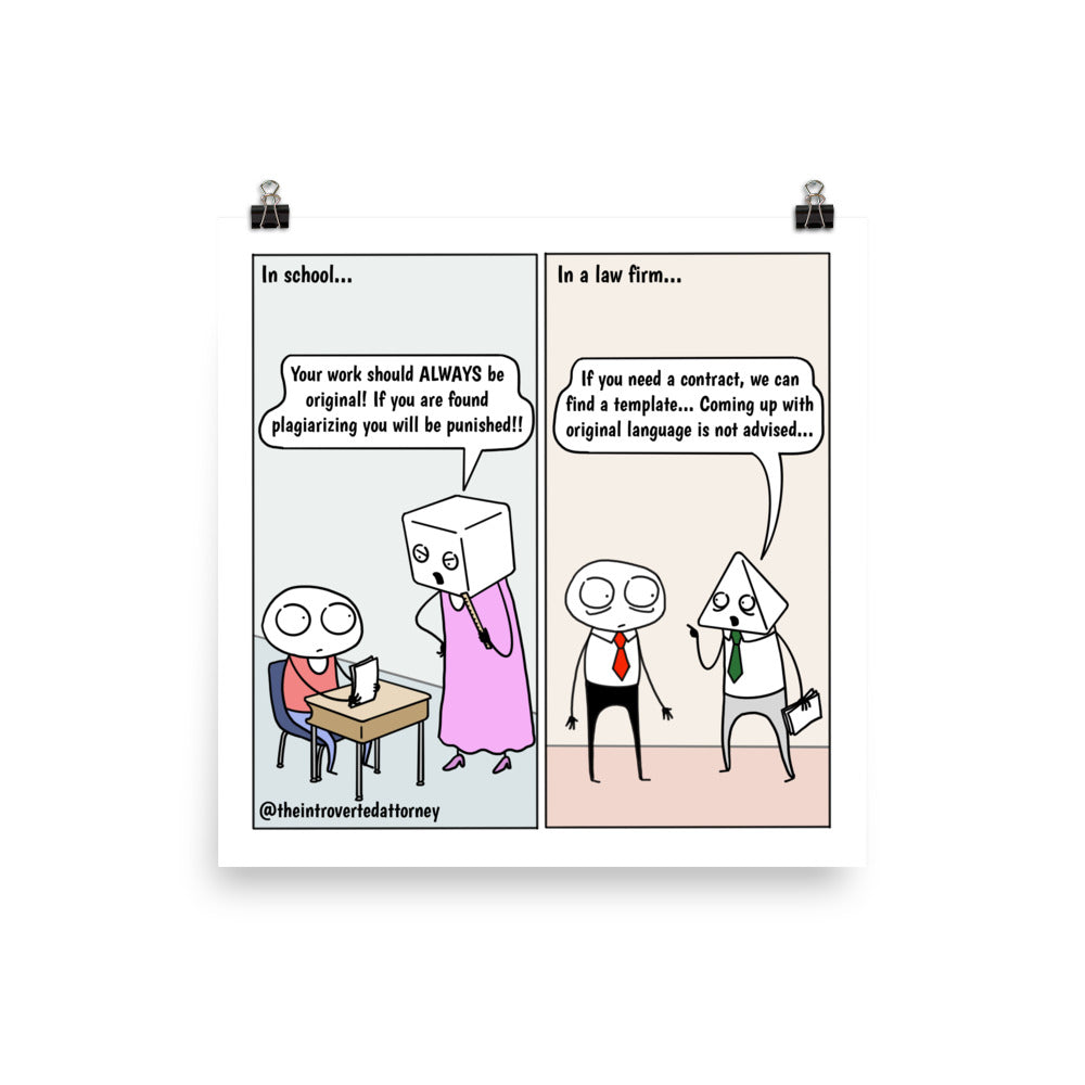 Copying | Best Lawyer Law Firm Gifts | Law Comic Print | Funny Gifts for Attorneys