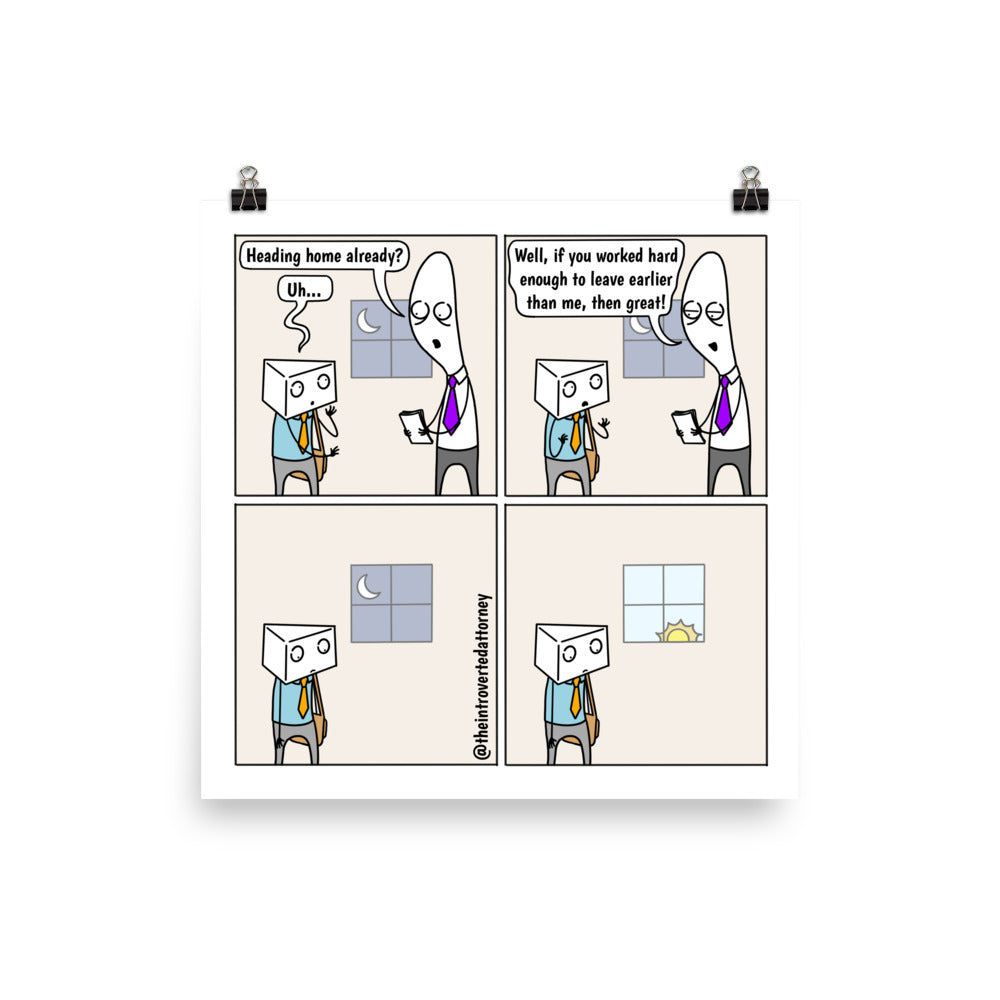 Heading Home | Best Lawyer Law Firm Gifts | Law Comic Print | Funny Gifts for Attorneys