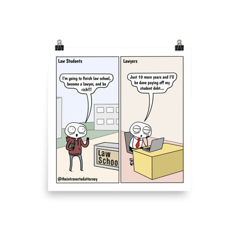 Rich in Debt | Best Lawyer Law Firm Gifts | Law Comic Print | Funny Gifts for Attorneys
