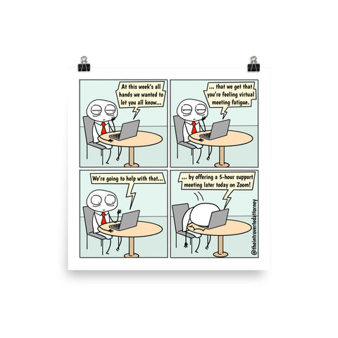 Virtual Meeting Fatigue | Best Lawyer Law Firm Gifts | Law Comic Print | Funny Gifts for Attorneys