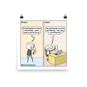 Legal Language | Best Lawyer Law Firm Gifts | Law Comic Print | Funny Gifts for Attorneys