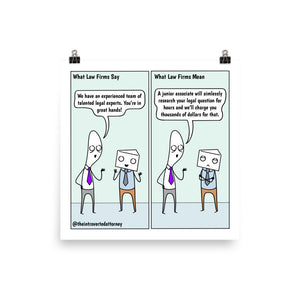 Setting Expectations | Best Lawyer Law Firm Gifts | Law Comic Print | Funny Gifts for Attorneys