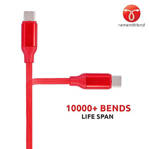 Remembrand 2.4A Turbo Charging Extra Tough USB Type C Cable (Charge and Sync, Luxury Red, 1 Meter)