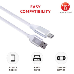 Remembrand 2.4A Turbo Charging Extra Tough Micro USB Cable (Charge and Sync, Elegant White, 1 Meter)