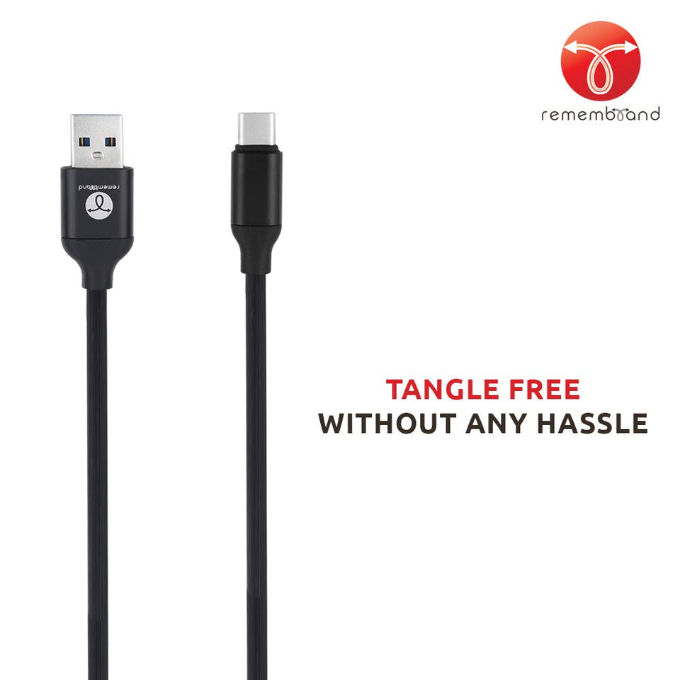 Remembrand 2.4A Turbo Charging Extra Tough USB Type C Cable (Charge and Sync, Classy Black, 1 Meter)