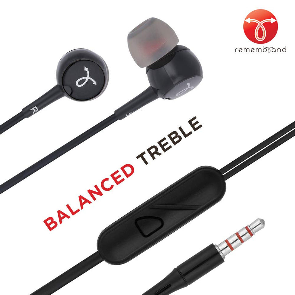 Remembrand BassBox 150 in-Ear Headphones with Mic (Classy Black, Wired Earphones)