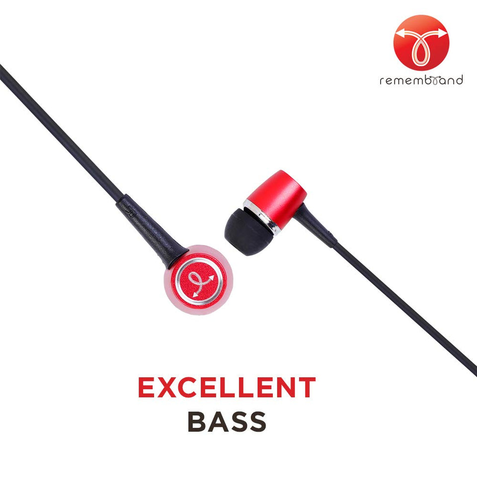 Remembrand BassBox 270 in-Ear Headphones with Mic (Luxury Red, Wired Earphones)