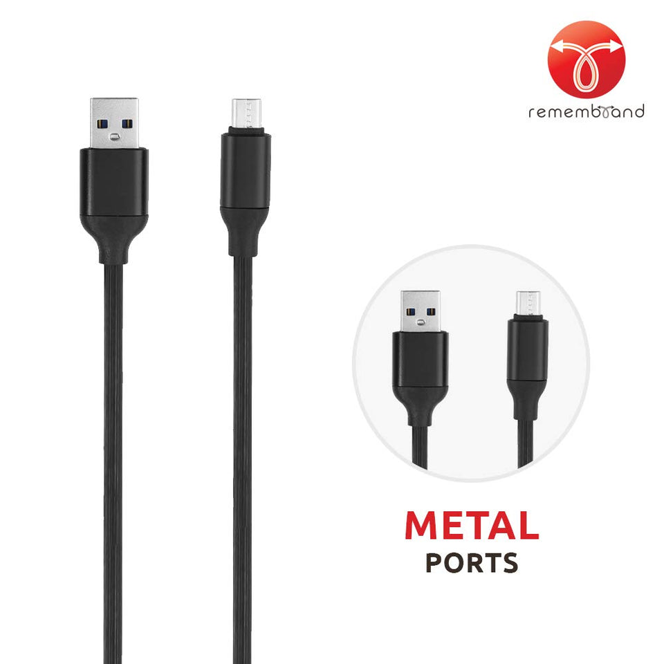 Remembrand 2.4A Turbo Charging Extra Tough Micro USB Cable (Charge and Sync, Classy Black, 1 Meter)