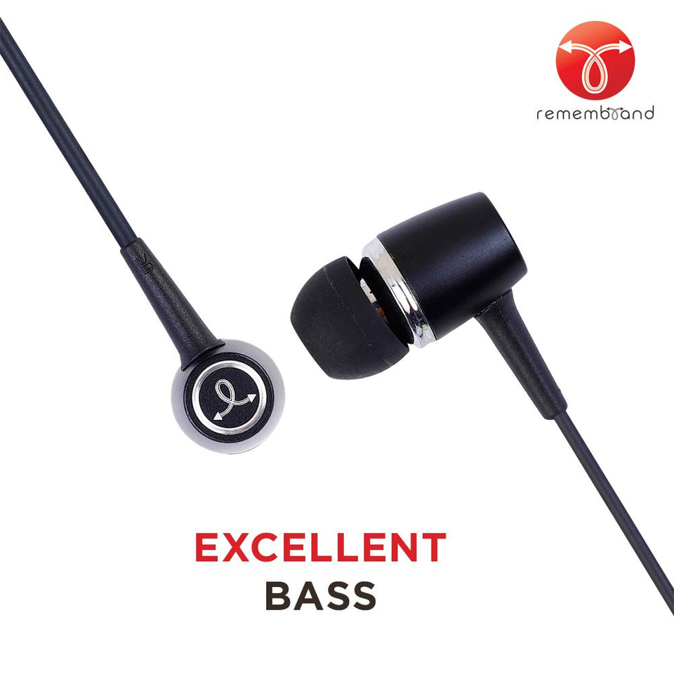Remembrand BassBox 270 in-Ear Headphones with Mic (Classy Black, Wired Earphones)