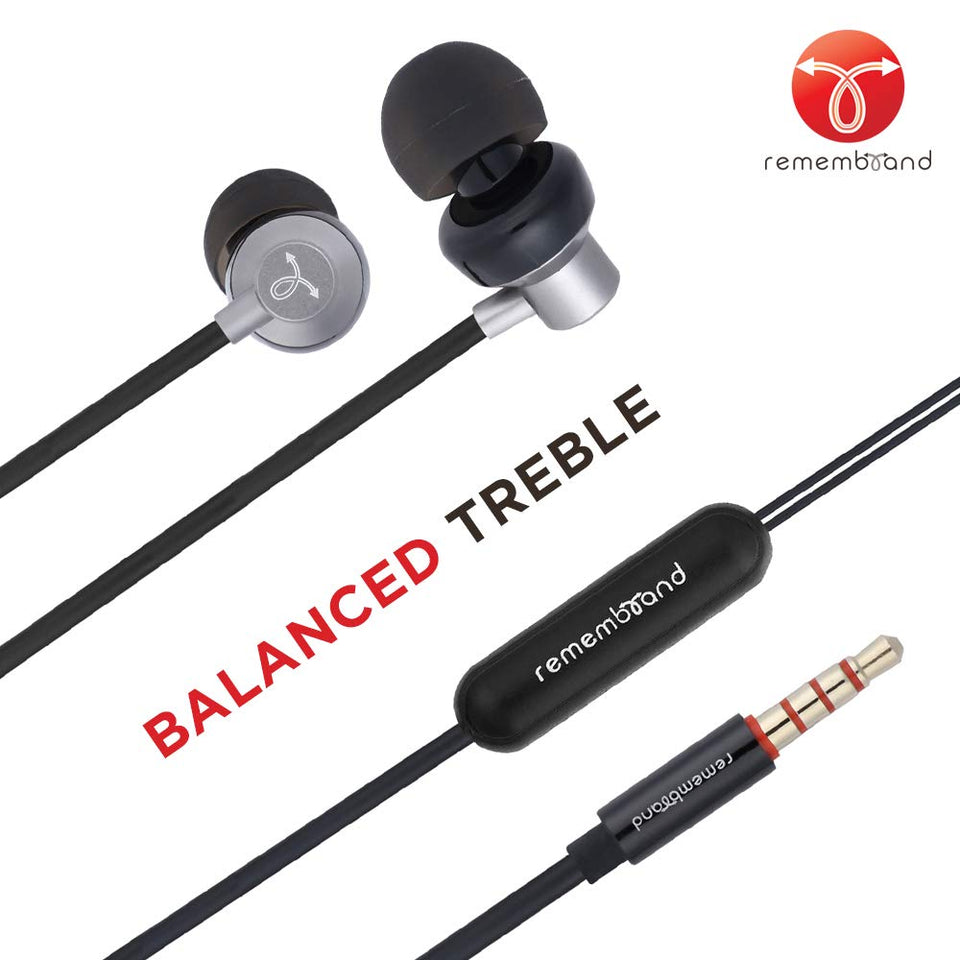 Remembrand BassBox 240 in-Ear Headphones with Mic (Stunning Grey, Wired Earphones)