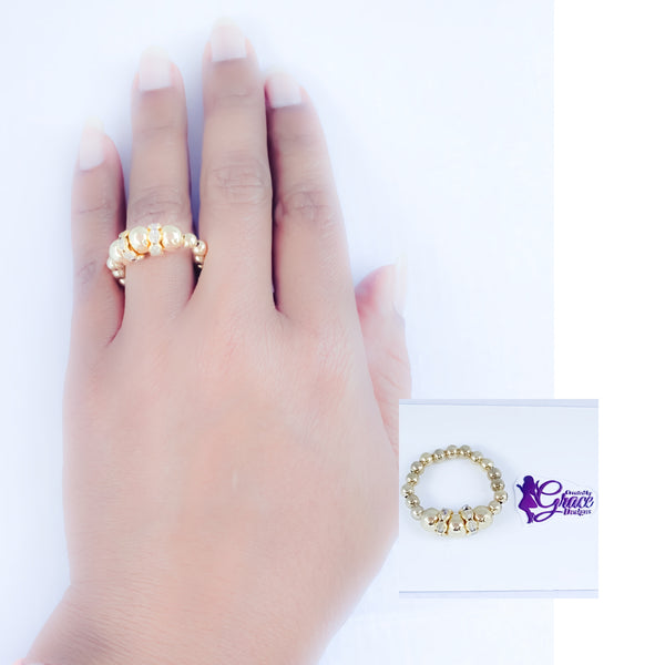 Gold Crystal Beaded Ring
